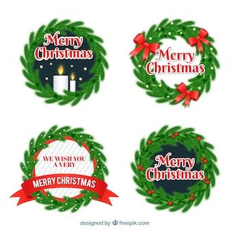 Набор наклеек с рождественскими венками