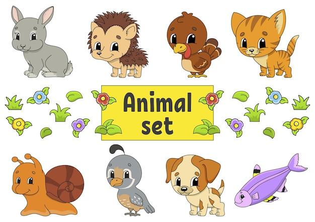 귀여운 만화 캐릭터와 스티커 세트입니다. 동물 클립 아트.