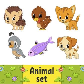 Набор наклеек с милыми героями мультфильмов. клипарт животных.
