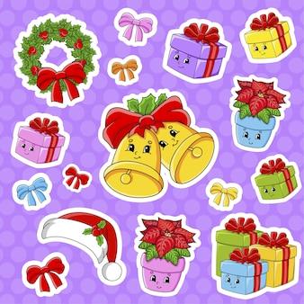귀여운 만화 캐릭터와 스티커 세트입니다. 크리스마스 테마. 손으로 그린. 다채로운 팩.