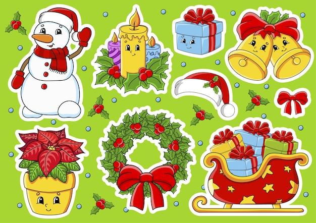 귀여운 만화 캐릭터와 스티커 세트입니다. 크리스마스 테마. 손으로 그린. 다채로운 팩. 프리미엄 벡터