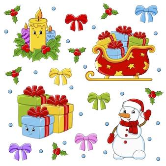 귀여운 만화 캐릭터와 스티커 세트입니다. 크리스마스 테마. 손으로 그린.