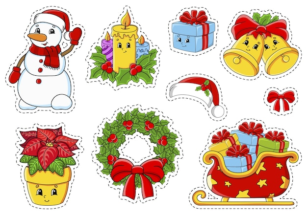 かわいい漫画のキャラクターとステッカーのセット。クリスマスのテーマ。