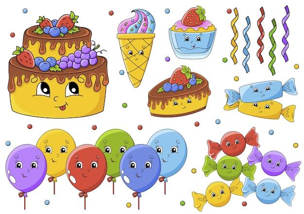 귀여운 만화 캐릭터와 스티커 세트입니다. 생일 축하합니다.