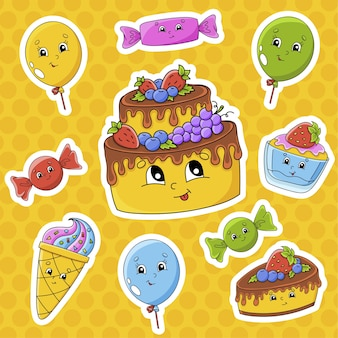 かわいい漫画のキャラクターとステッカーのセット。お誕生日おめでとうテーマ。