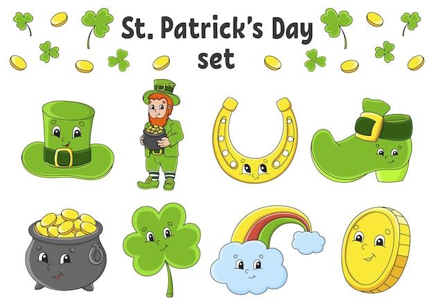 かわいい漫画のキャラクターとステッカーのセット。聖パトリックの日。