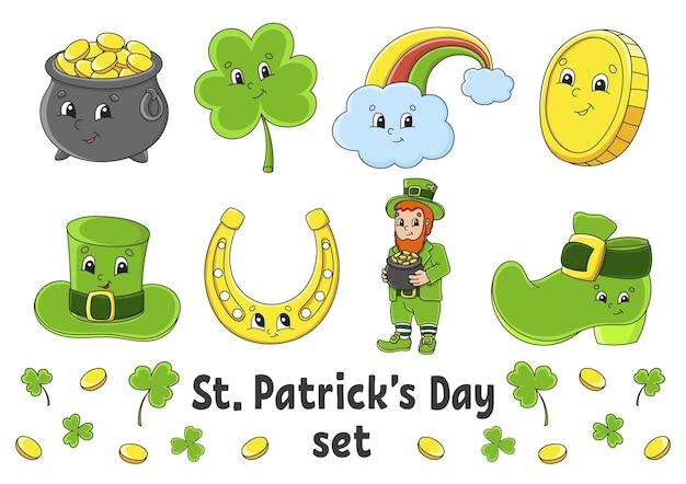 귀여운 만화 캐릭터와 스티커 세트입니다. 성 패트릭의 날.