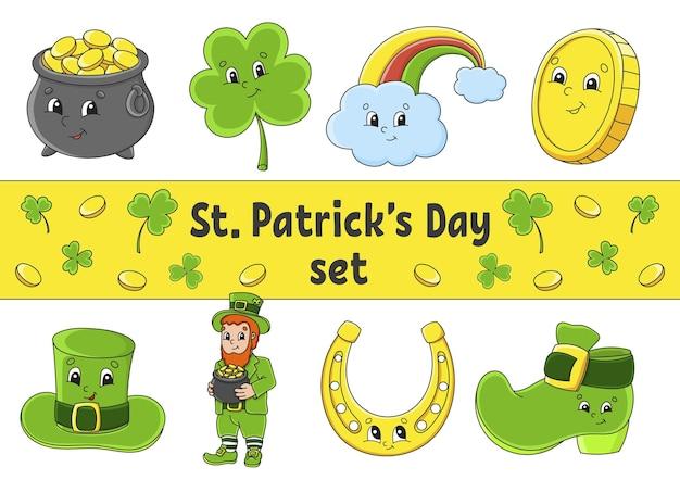 귀여운 만화 캐릭터가 있는 스티커 세트 st patricks day