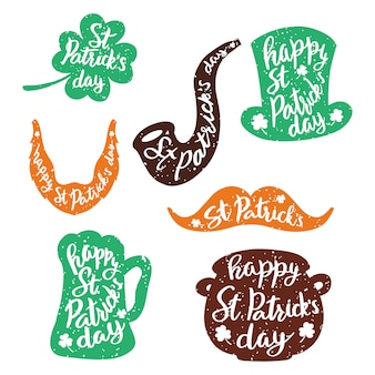 Set of stickers with lettering. St. Patrick's Day.