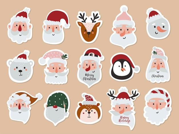 산타 얼굴과 동물이 있는 스티커 세트입니다. 인사말 카드, 크리스마스 초대장 및 스크랩북에 대한 벡터 일러스트 레이 션
