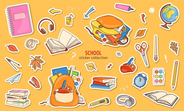 Набор наклеек со школьными принадлежностями в стиле каракули