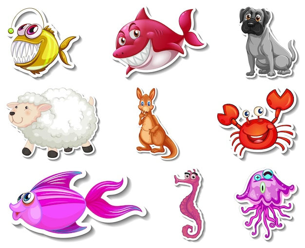 Набор наклеек с морскими животными и собаками мультипликационный персонаж