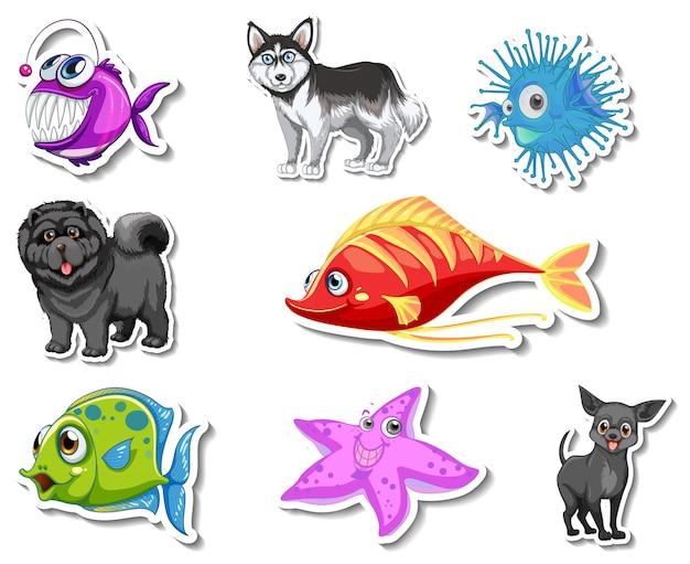 海の動物と犬の漫画のキャラクターとステッカーのセット