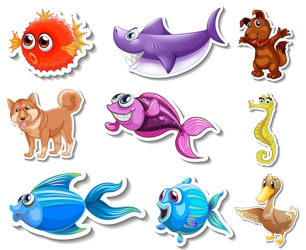 바다 동물과 개 만화 캐릭터와 스티커 세트