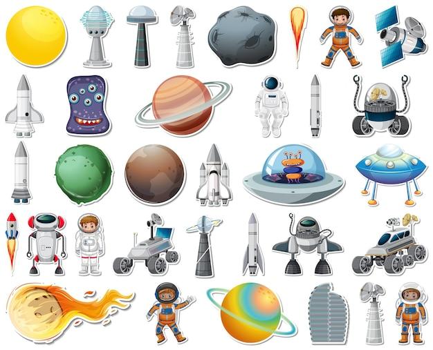 고립 된 태양계 개체와 스티커 세트