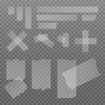 투명 한 배경에 고립 된 스티커 접착제 스카치 테이프 조각의 집합입니다.