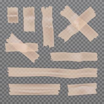 투명 한 배경에 고립 된 스티커 접착제 스카치 테이프 조각의 집합입니다. 접착 줄무늬.