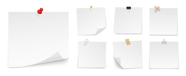 푸시 핀, 접착 테이프, 바인더 클립이있는 스티커 메모 용지 세트. 참고에 대 한 빈 종이 시트. 전면보기. 메시지 템플릿. 프리미엄 벡터