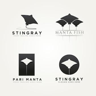 가오리 만타 물고기 아이콘 로고 템플릿 벡터 일러스트 디자인의 세트