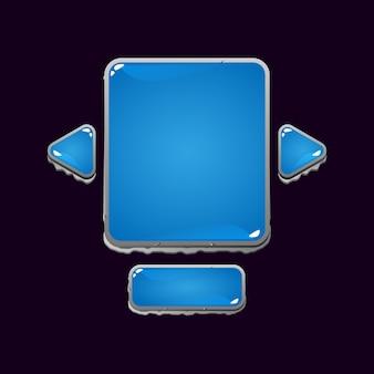Набор всплывающих окон пользовательского интерфейса игры с каменным желе для элементов пользовательского интерфейса