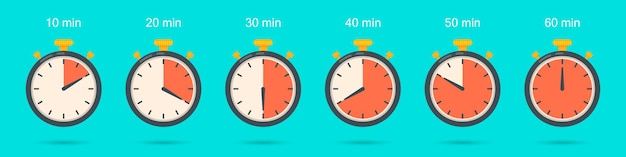 Набор значка секундомера в плоском дизайне Premium векторы