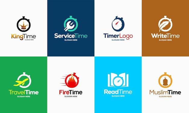 Набор логотипов таймера секундомера проектирует вектор шаблона концепции, вектор шаблона символа символа эмблемы таймера