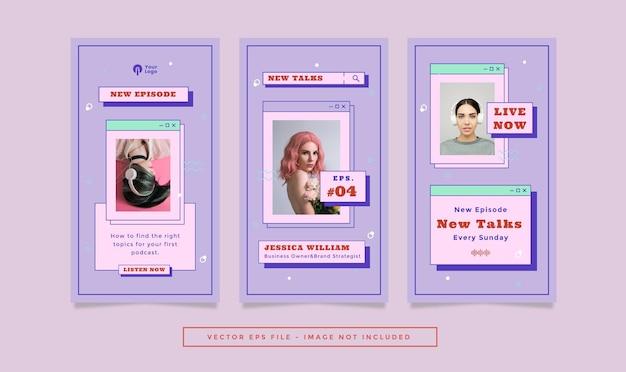 Набор рассказов флаера с фиолетовыми синими цветами модной ретро-темой для социальных сетей.