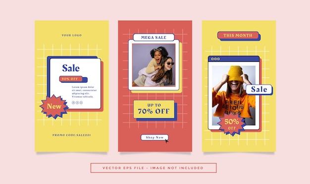 Набор рассказов флаера с красно-желтой модной ретро-темой для социальных сетей.