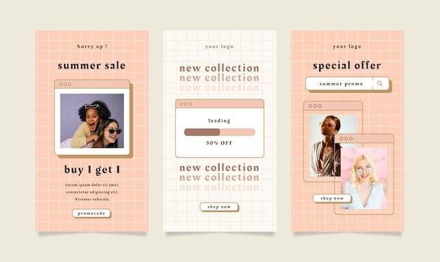 Набор рассказов флаера с темой летней распродажи для социальных сетей. Premium векторы