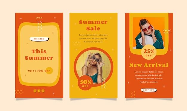 Набор рассказов флаера с темой летней распродажи для социальных сетей.