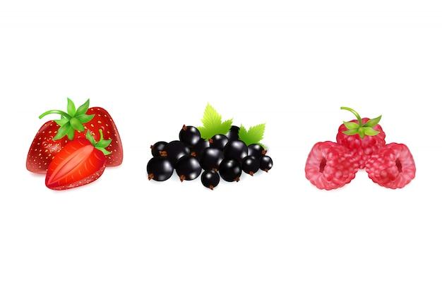 イチゴ、ラズベリー、黒スグリのセットです。