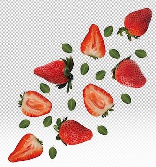 Набор клубники с листьями на прозрачном фоне. плоды клубники целые и разрезаны пополам. полезна спелая свежая клубника, богатая витаминами, натуральный продукт. реалистичная иллюстрация.