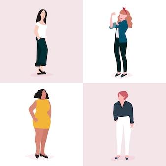 Set of strong women full body vector