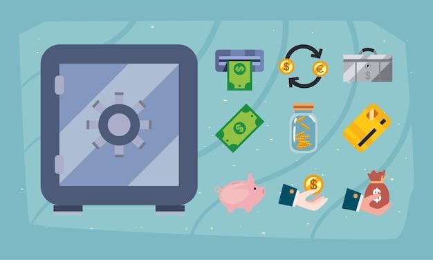 Набор значков денежного ящика и денег