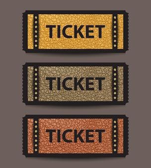 황금 장식 조각 요소와 노란색, 회색 및 갈색 색상의 가죽으로 된 스텁 티켓 템플릿 집합입니다.