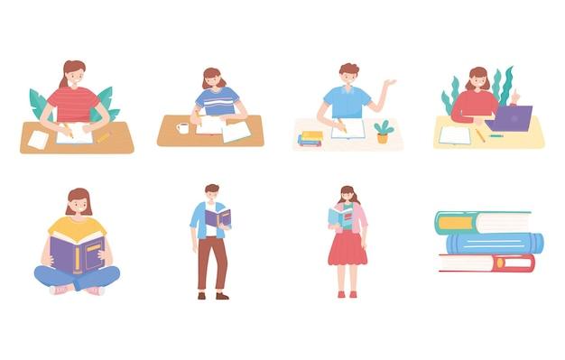 学生のセットは、教育イラストを読んだり勉強したりする本を持っています