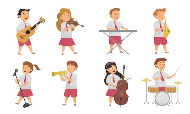 Набор студентов, играющих на различных музыкальных инструментах, векторные иллюстрации и дизайн