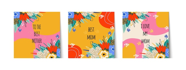 어머니의 날이나 어머니의 생일을 위한 세련된 카드 세트. 인사말 레터링 최고의 엄마, 나는 엄마를 사랑합니다. 꽃다발, 선물 라벨. 밝은 꽃과 잎. 벡터 일러스트 레이 션