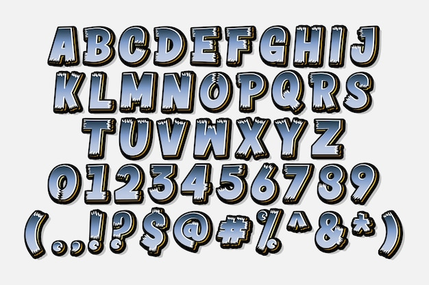 세련 된 만화 알파벳 세트