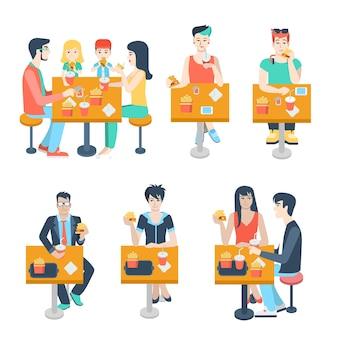 패스트 푸드 테이블에 앉아 세련 된 가족 어린 소년 소녀 사업가 몇 인물의 집합입니다. 플랫 사람들의 라이프 스타일 상황 패스트 푸드 카페 레스토랑 식사 시간 개념. 창조적 인 인간 컬렉션.