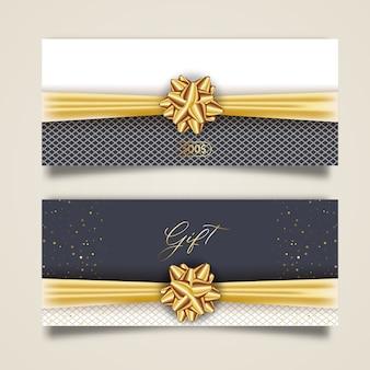 Набор стильного подарочного сертификата с золотой лентой и бантом. элегантный шаблон для подарочной карты, купона и сертификата, изолированных от фона.