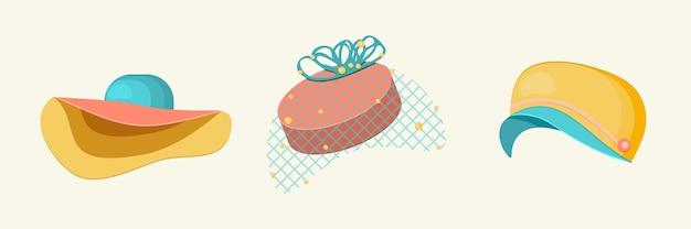 Набор стильных разноцветных женских шляп