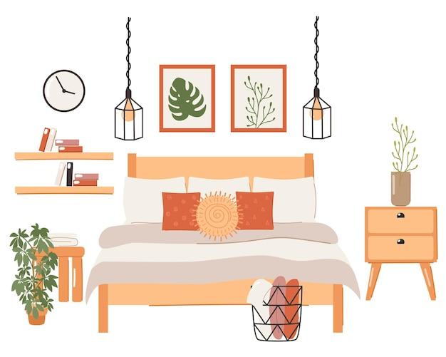 スタイリッシュなスカンジナビアの寝室のインテリアのセット。現代のスカンジナビアのベッド、時計、バスケット、ランプ、植物、家の装飾。