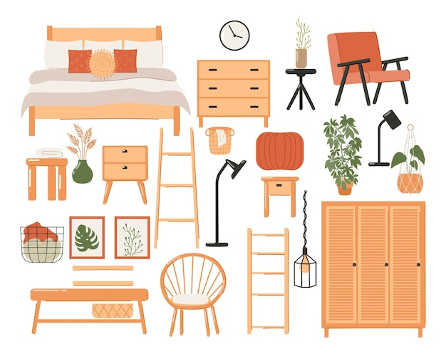 スタイリッシュなスカンジナビアの寝室のインテリアのセット。モダンなスカンジナビアのベッド、ワードローブ、鏡、ナイトスタンド、植物、ランプ、家の装飾。