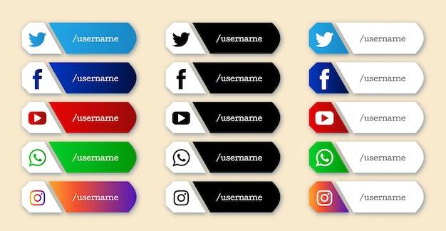 세련 된 소셜 미디어 더 낮은 세 번째 아이콘 세트
