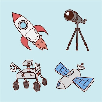 Набор стильных космических рук рисования иллюстрации