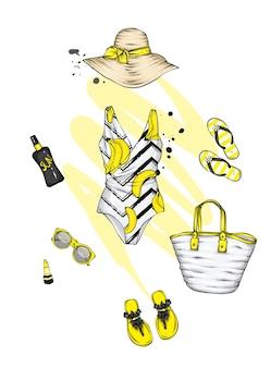 Набор стильной летней женской одежды и аксессуаров