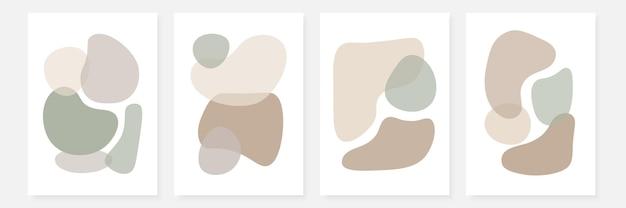 Набор стильных шаблонов с абстрактными формами в пастельных тонах