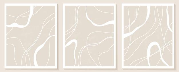 Набор стильных шаблонов с органическими абстрактными формами и линиями в обнаженных тонах. пастельный фон в стиле минимализма. современные векторные иллюстрации
