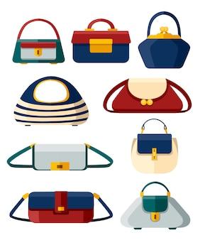 スタイリッシュな女性のハンドバッグのセット。さまざまな形のハンドバッグのコレクション。 。白い背景のイラスト。 webサイトページとモバイルアプリ。